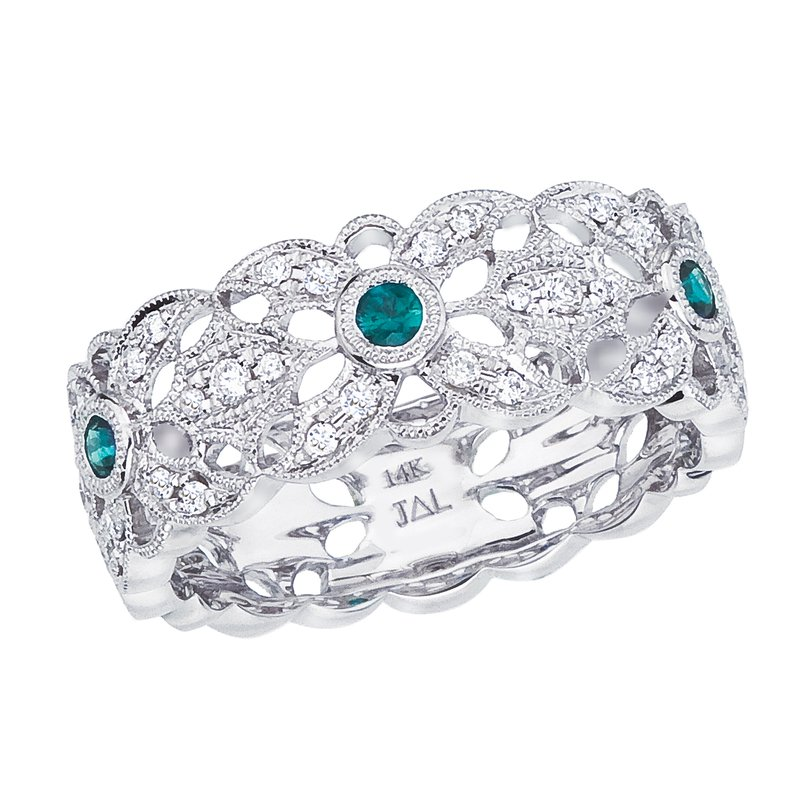 Color Merchants 14k White Gold Emerald and Diamond Filigree Ring