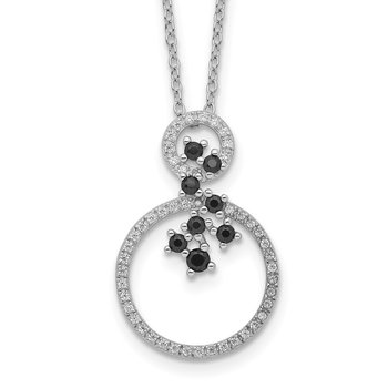 Sterling Silver Rhodium-plated CZ and Spinel 2-Circle Necklace