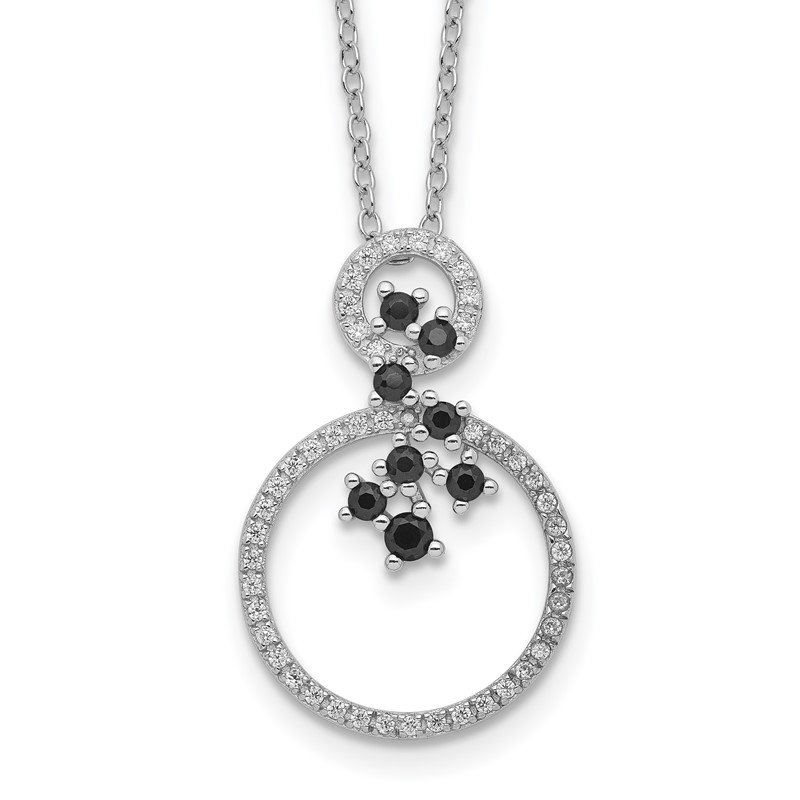 Quality Gold Sterling Silver Rhodium-plated CZ and Spinel 2-Circle Necklace