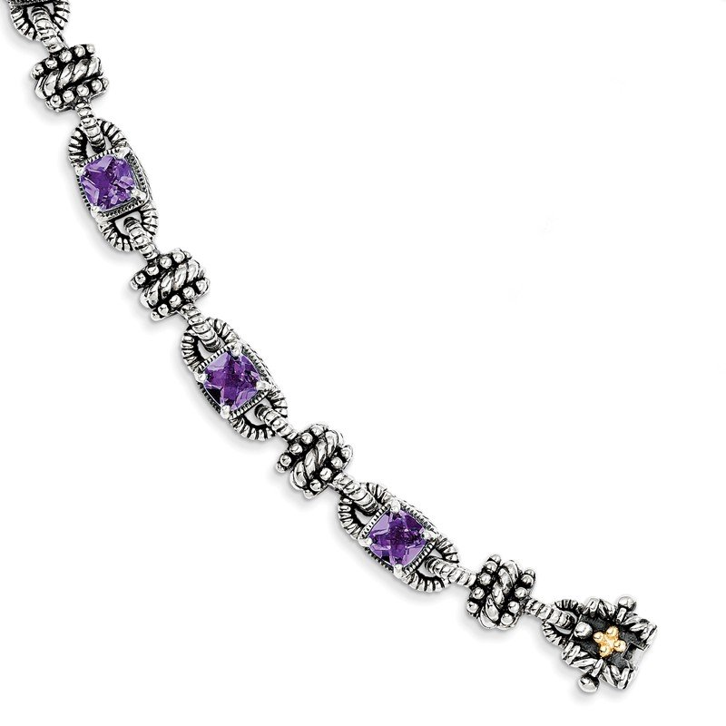 Shey Couture Sterling Silver w/14k Amethyst Antiqued Bracelet