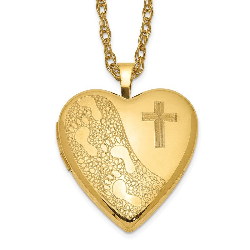 Quality Gold 1/20 Gold Filled 20mm Cross & Footprint Heart Locket Necklace