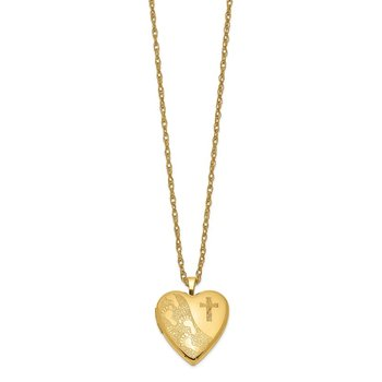 1/20 Gold Filled 20mm Cross & Footprint Heart Locket Necklace
