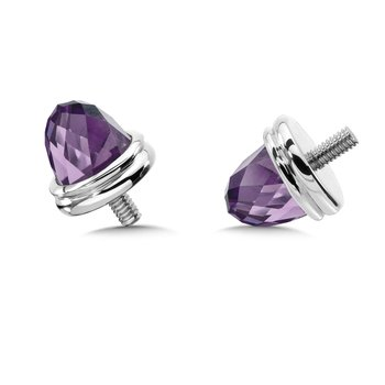 Sterling Silver Amethyst Caps (pair)