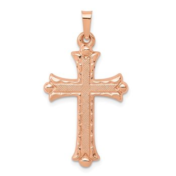 14K Rose Gold Brushed and Polished Budded Cross Pendant
