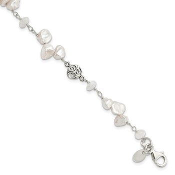 Sterling Silver FWC Keshi Pearl w/Moonstone 1in Ext. Fancy Bracelet