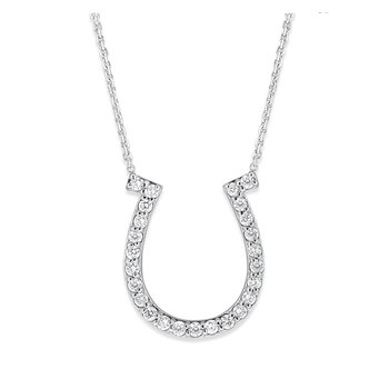 Diamond Horseshoe Necklace in 14K White Gold with 25 Diamonds Weighing .50 ct tw