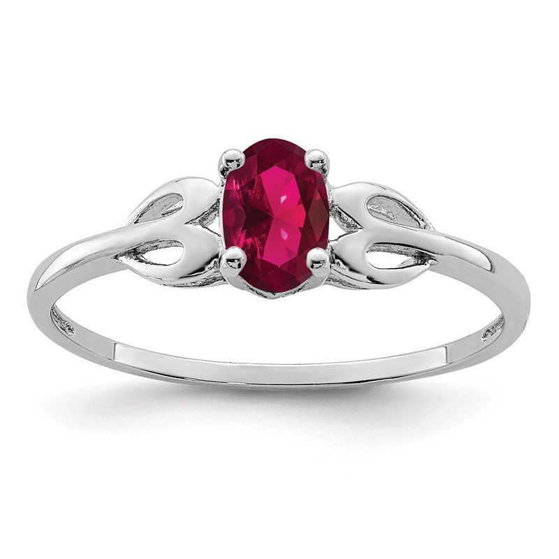 Quality Gold Sterling Silver Rhodium-plated Created Ruby Ring