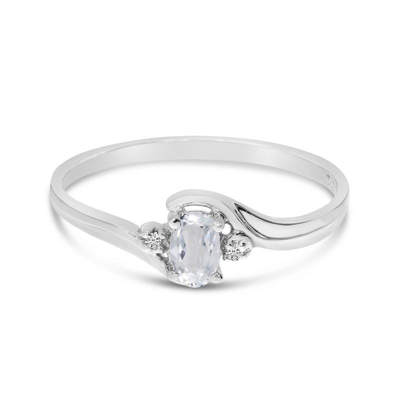 Color Merchants 10k White Gold Oval White Topaz And Diamond Ring