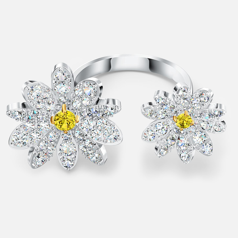 Swarovski Eternal Flower Open Ring, Yellow, Mixed metal finish