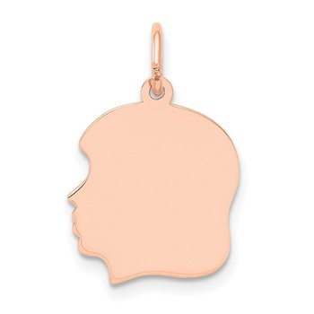 14k Rose Plain Medium.013 Depth Facing Left Engraveable Girl Head Charm