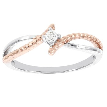 Sterling Silver and Rose-plated Diamond Accent Promise Ring
