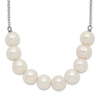 Sterling Silver Rhod-plat 6-7mm White off Round FWC Pearl Necklace