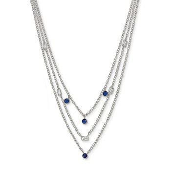 Sterling Silver Blue & Clear CZ 3-Strand Necklace