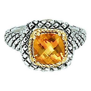 18kt and Sterling Silver Cushion Citrine Button Ring
