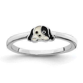 Sterling Silver Rhodium-plated Childs Enameled Puppy Ring