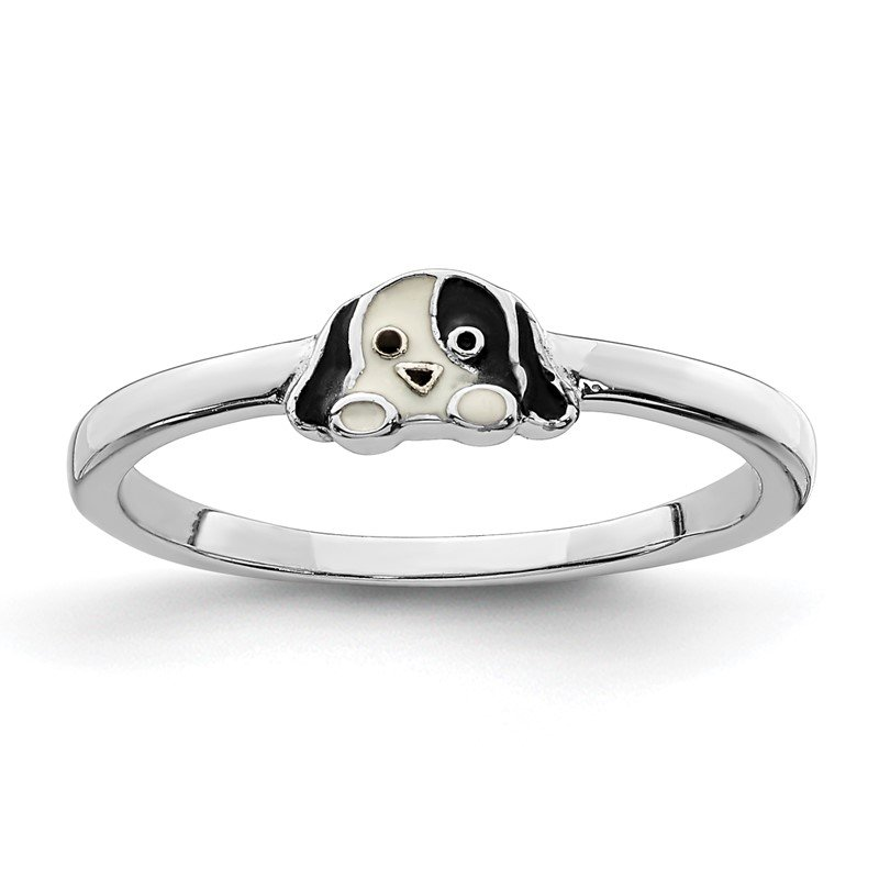 Quality Gold Sterling Silver Rhodium-plated Childs Enameled Puppy Ring