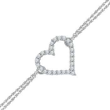 Sterling Silver Womens Round Diamond Heart Bracelet 1/8 Cttw