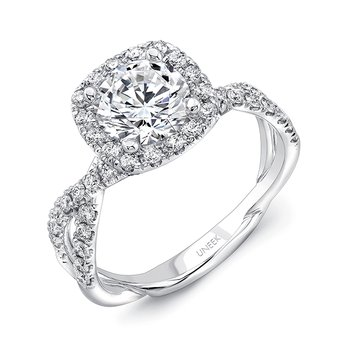 Uneek Round-Diamond-on-Cushion-Halo Engagement Ring with Double Pave Infinity-Style Crisscross Shank, in 14K White Gold