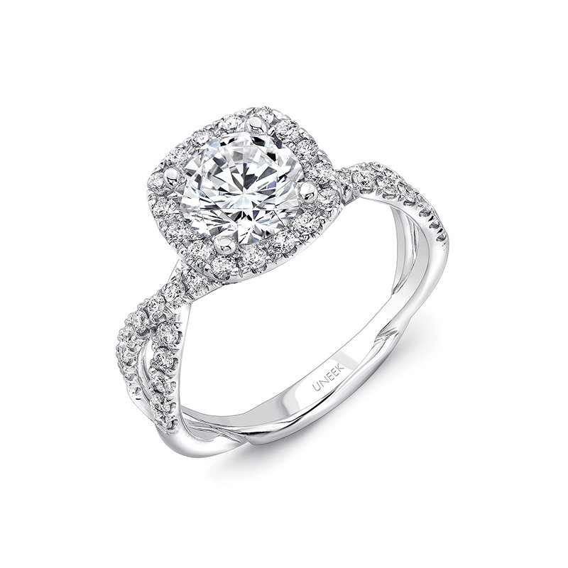 Uneek Fine Jewelry Uneek Round-Diamond-on-Cushion-Halo Engagement Ring with Double Pave Infinity-Style Crisscross Shank, in 14K White Gold