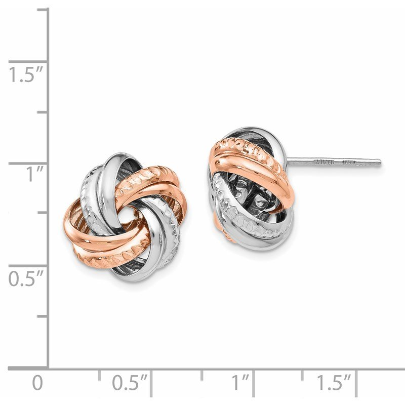 Leslie's Leslie's Sterling Silver Rose Rhodium-plated Post Earrings