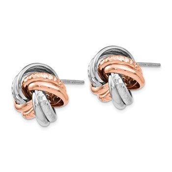 Leslie's Sterling Silver Rose Rhodium-plated Post Earrings