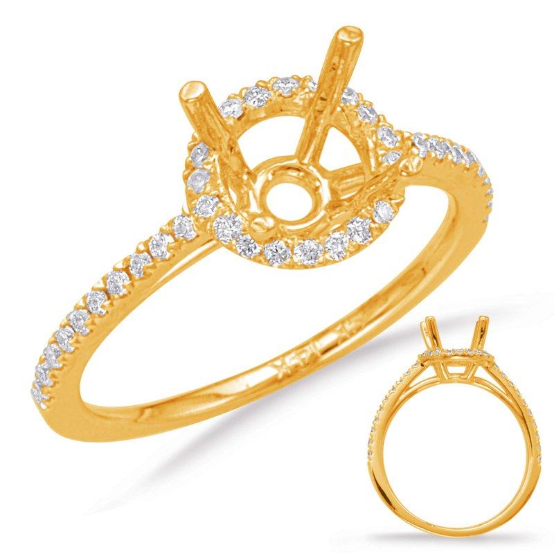 S. Kashi & Sons Bridal Yellow Gold Halo Engagement Ring