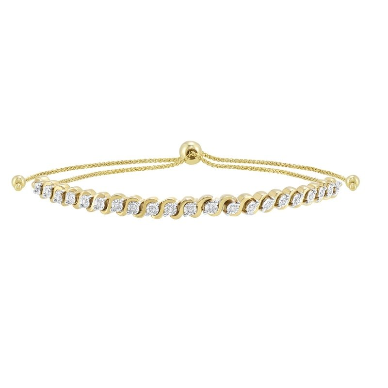 Gems One Prong Set Bolo Diamond Bracelet in 10K Yellow Gold (1/2 ct. tw.)