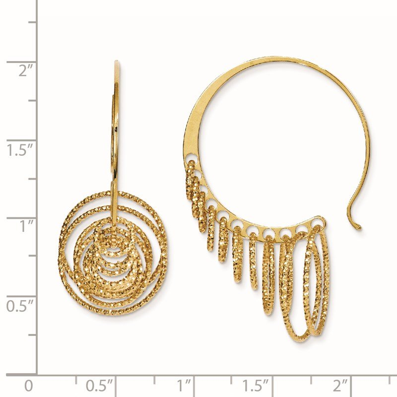 Leslie's Leslie's SS and Gold-plated Polished and Laser-cut Hoop Earrings