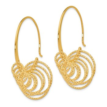 Leslie's SS and Gold-plated Polished and Laser-cut Hoop Earrings