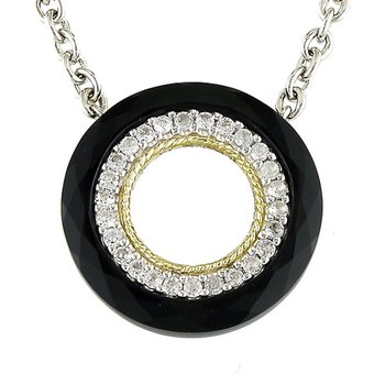 18kt and Sterling Silver Onyx and White Topaz Necklace