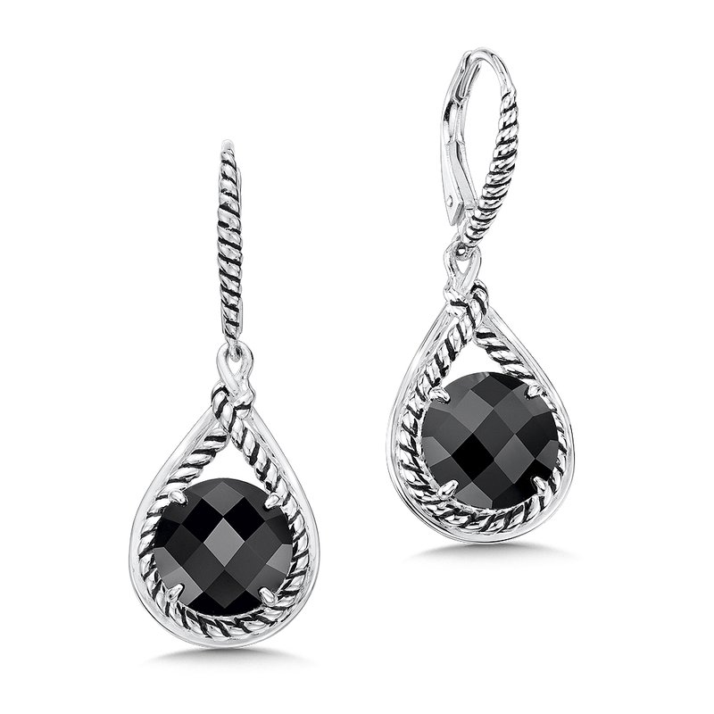 Colore Sg Sterling Silver And Black Onyx Earrings