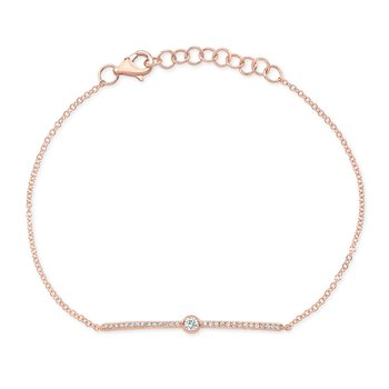Rose Gold Diamond Bezel Bar Bracelet
