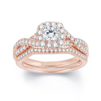 BLISS24: 14KW 1.00cttw Rose Gold Bridal Set