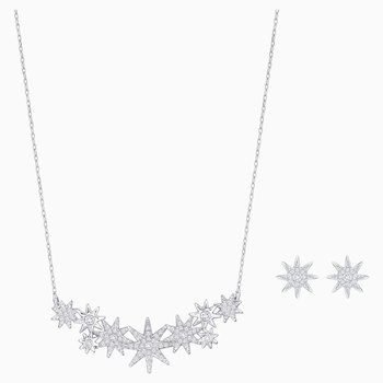 Fizzy Set, White, Rhodium plated