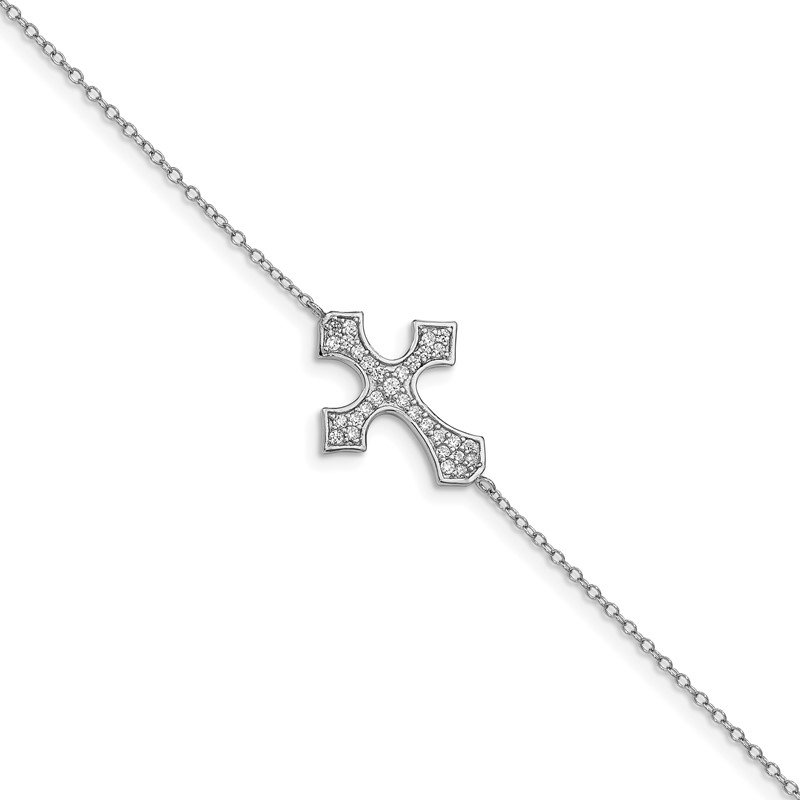 Quality Gold Sterling Silver Rhodium-plated CZ Cross w/1in ext. Bracelet