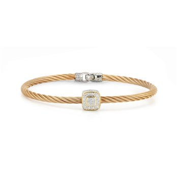 Rose Cable Essential Stackable Bracelet with Single Large Square Diamond station set in 18kt White & Yellow Gold