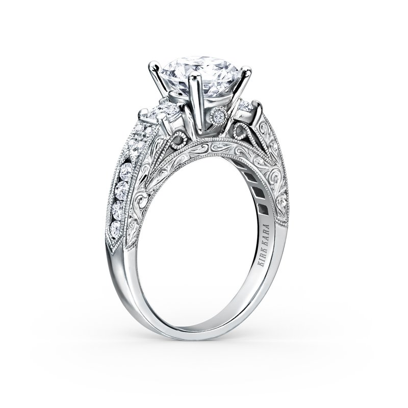 Kirk Kara Engraved Deco Diamond Three Stone Engagement Ring