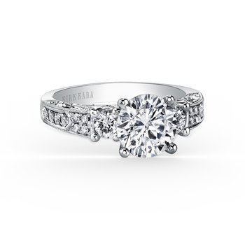 Engraved Deco Diamond Three Stone Engagement Ring
