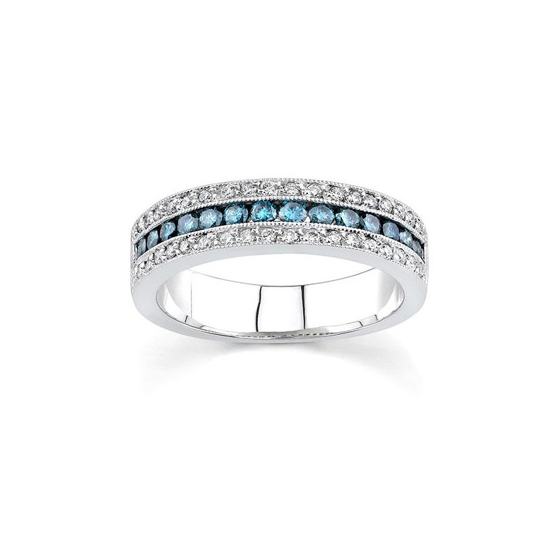 Barkev's White Gold Band With White & Blue Diamonds