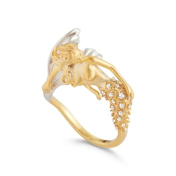 "Mermaid ring in 14K yellow and a  white diamond  tail  T.W 0.17ct 1"" long mermaid"