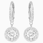 Attract Earrings, White, Rhodium plated