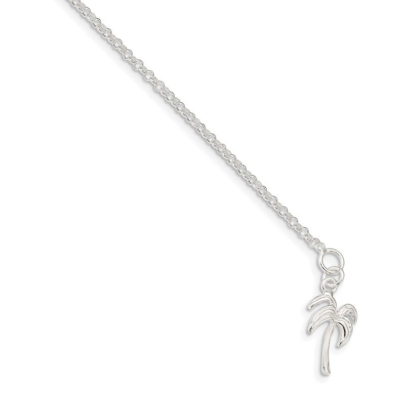 Quality Gold Sterling Silver 10inch Solid Polished Palm Tree Anklet