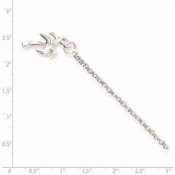 Sterling Silver 10inch Solid Polished Palm Tree Anklet