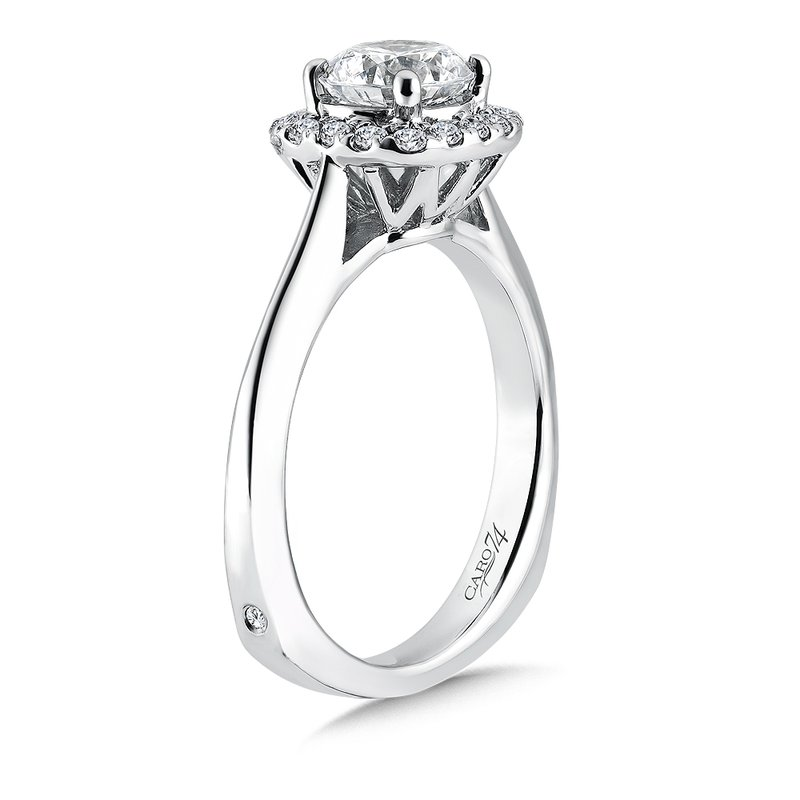 Caro74 Classic Elegance Collection Halo Engagement Ring in 14K White Gold (1ct. tw.)