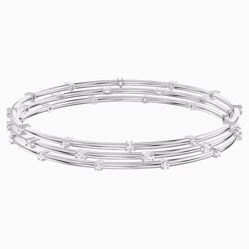 Penélope Cruz Moonsun Cluster Bangle, White, Rhodium plated