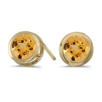 14k Yellow Gold Round Citrine Bezel Stud Earrings