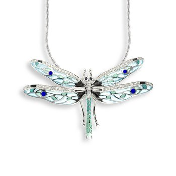 Blue Dragonfly Necklace.Sterling Silver-White Sapphire and Blue Sapphire - Plique-a-Jour