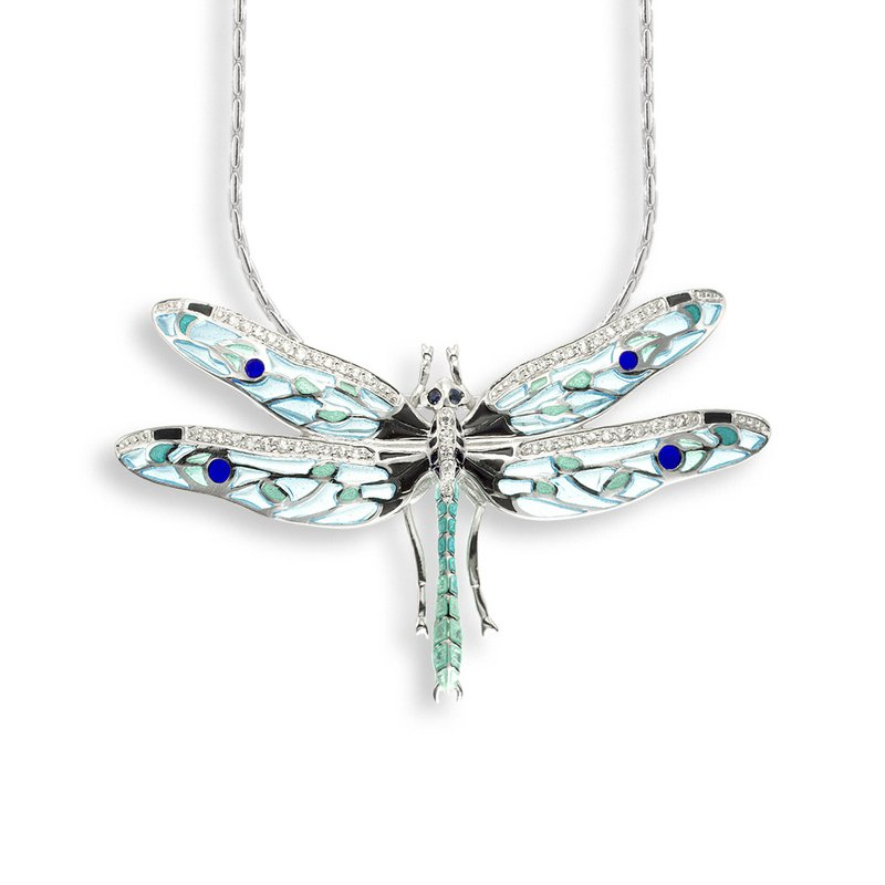 Nicole Barr Designs Blue Dragonfly Necklace.Sterling Silver-White Sapphire and Blue Sapphire - Plique-a-Jour