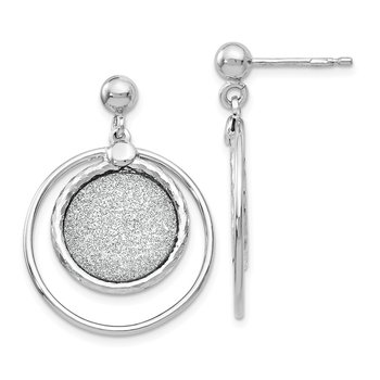 Leslie's Sterling Silver Laser Textured Post Dangle Earrings