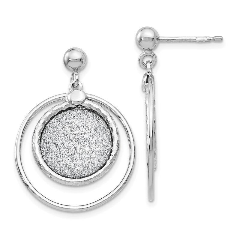 Leslie's Leslie's Sterling Silver Laser Textured Post Dangle Earrings